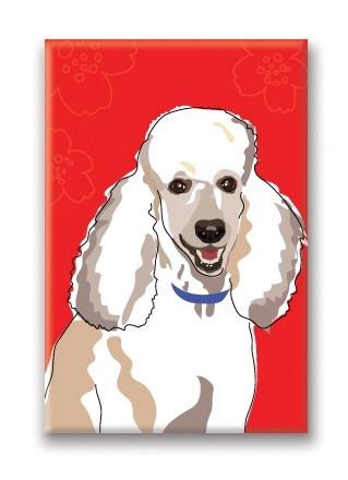 Paper Russells Poodle, White Fridge Magnet