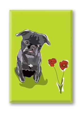 Paper Russells Pug, Black With Flowers Fridge Magnet