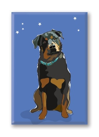 Paper Russells Rottweiler, Fridge Magnet