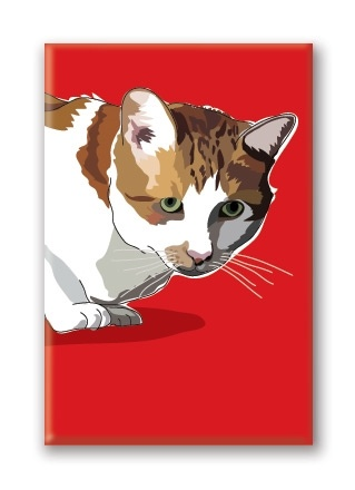 Paper Russells Cat, Tabby Fridge Magnet