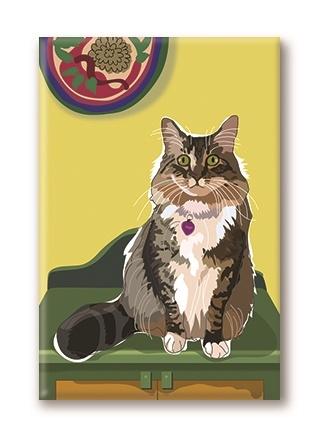 Paper Russells Cat, On Chest Fridge Magnet