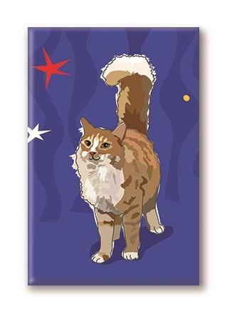 Paper Russells Cat, With Tail Up Fridge Magnet