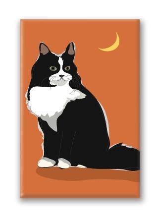 Paper Russells Cat, Tuxedo Fridge Magnet