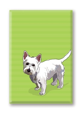 Paper Russells West Highland Terrier, Fridge Magnet
