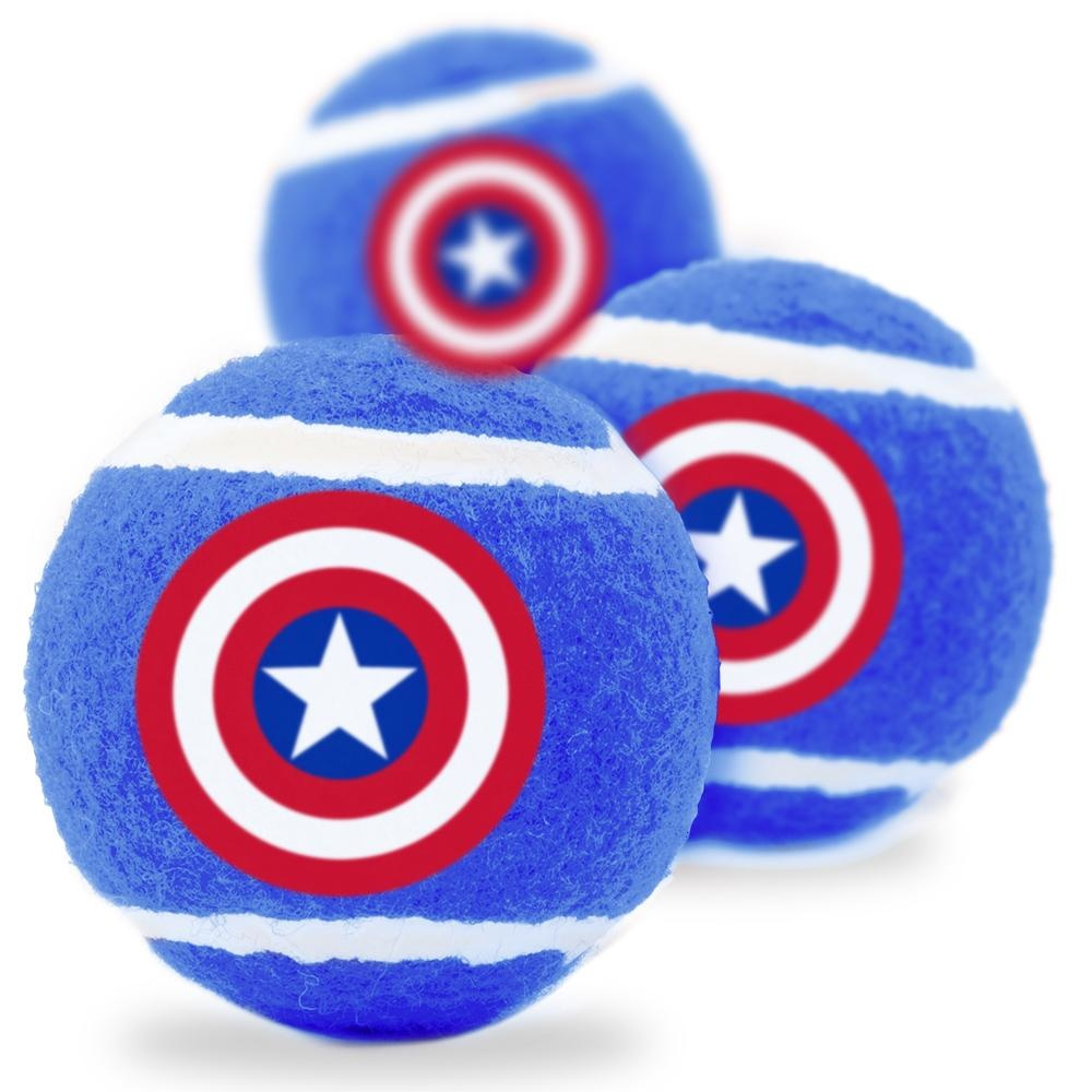 Buckle Down Buckle-Down Captain America Shield Squeaky Tennis Ball, 3 pack