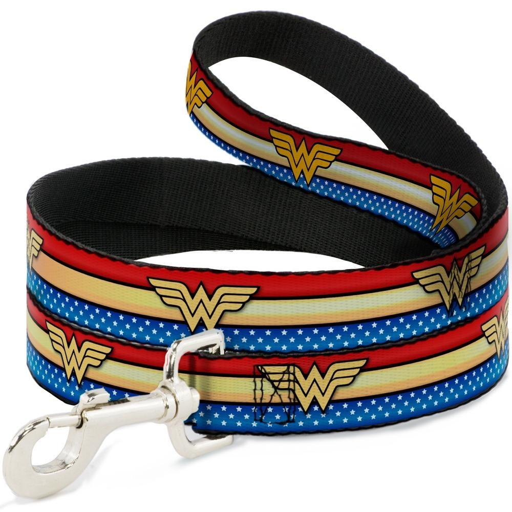 "Buckle Down Buckle-Down Wonder Woman Logo Stripe/Stars Leash 4 Ft 1""W"