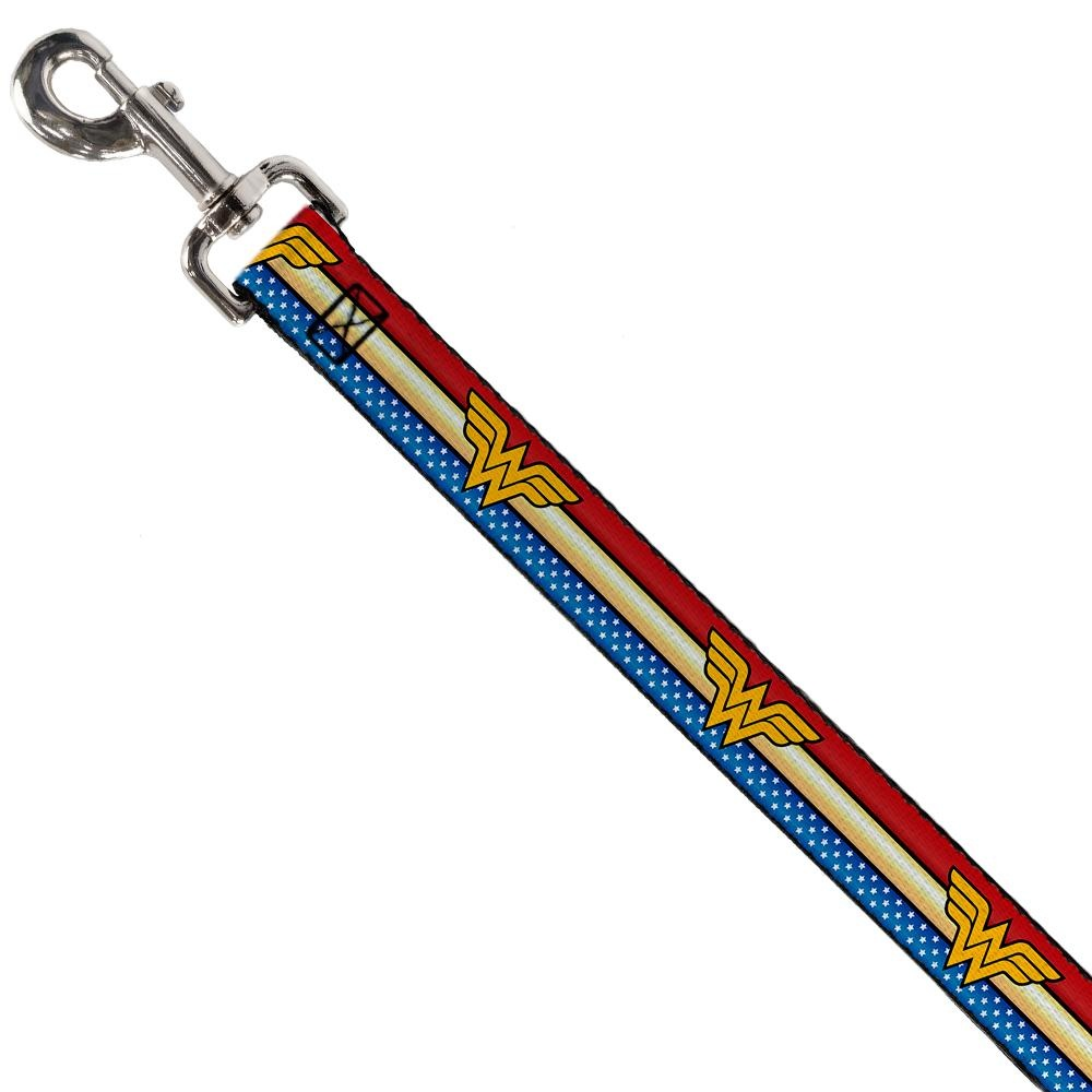 "Buckle Down Buckle-Down Wonder Woman Logo Stripe/Stars Leash 4 Ft 1""W"