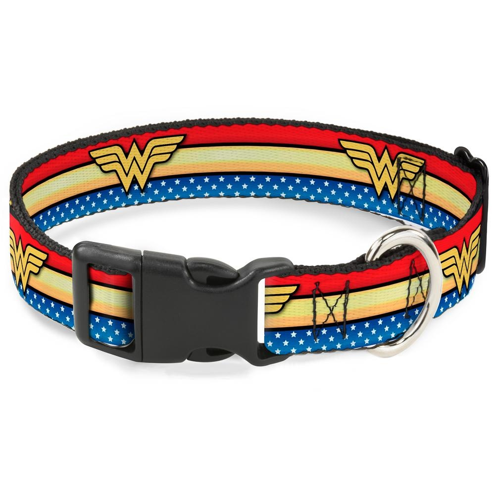 Buckle Down Buckle-Down Wonder Woman Logo Stripe/Stars Plastic Clip Collar
