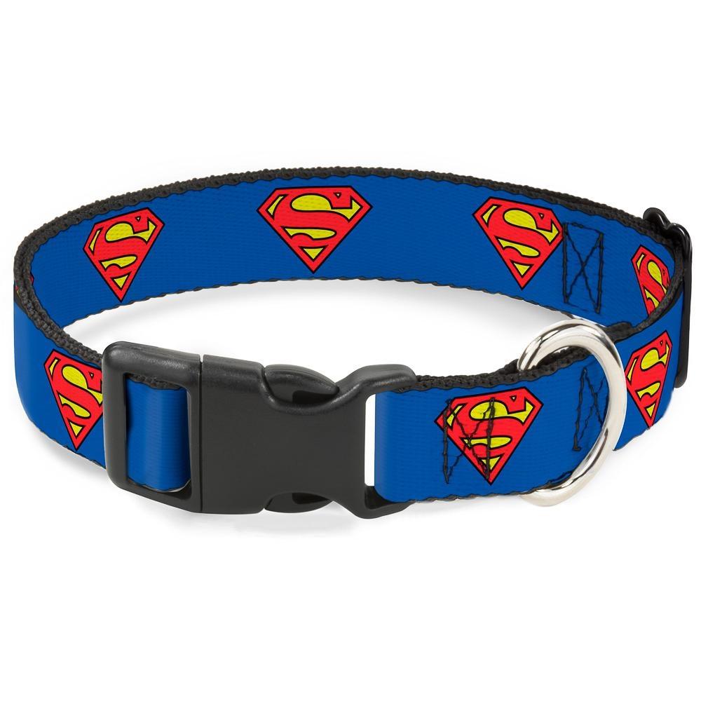 Buckle Down Buckle-Down Superman Shield Blue Plastic Clip Collar