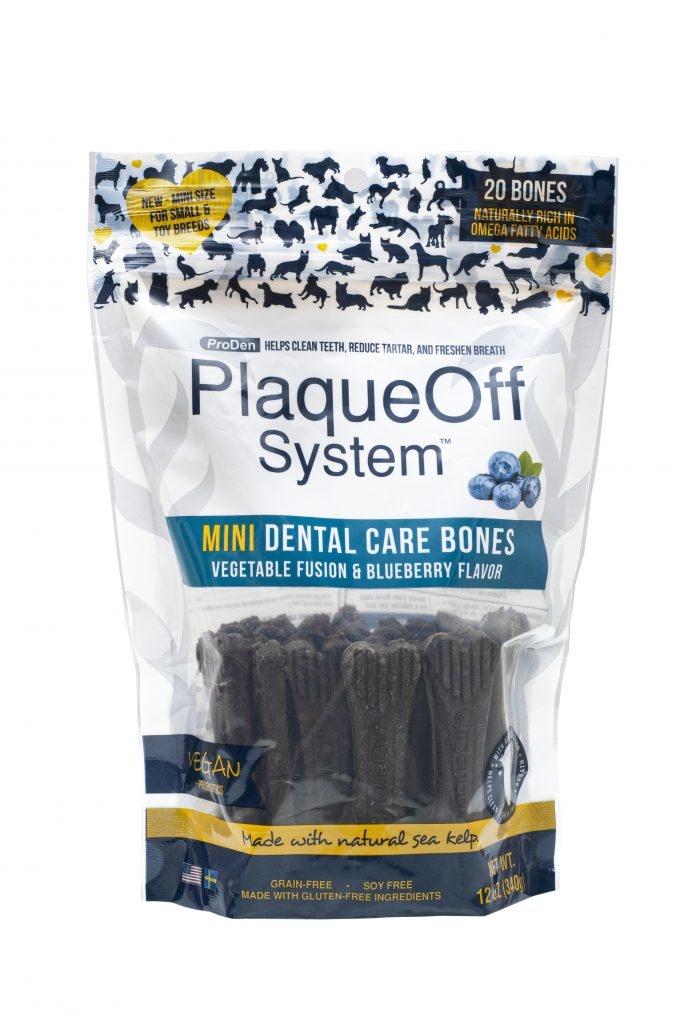 PlaqueOff Proden PlaqueOff System Dog Dental Care Bones Mini Vegetable with Blueberry, 17oz bag