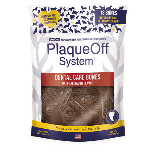 PlaqueOff Proden PlaqueOff System Dog Dental Care Bones Natural Bacon, 17oz bag