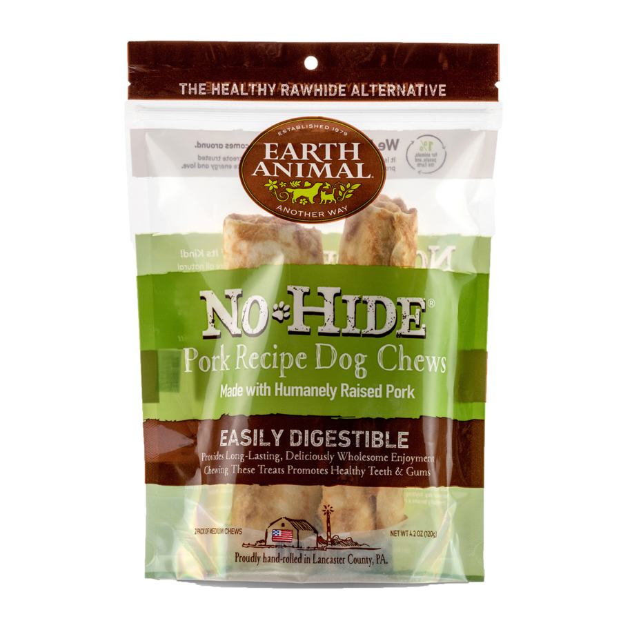 "Earth Animal Earth Animal No Hide Pork Chew Medium 7"" 2 Pack"