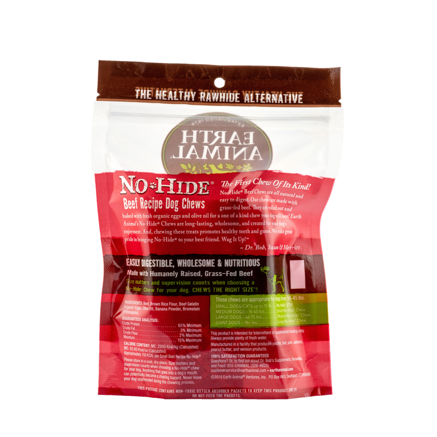 """Earth Animal Earth Animal No Hide Beef Chew Small 4"""" 2 Pack"""