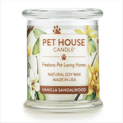 One Fur All Pet House Candle Vanilla Sandalwood 8.5oz