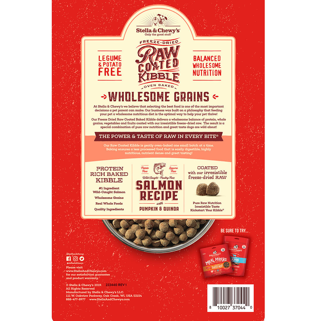 Stella & Chewys Stella & Chewys Raw Coated Baked Kibble with Wholesome Grains, Salmon with Pumpkin & Quinoa