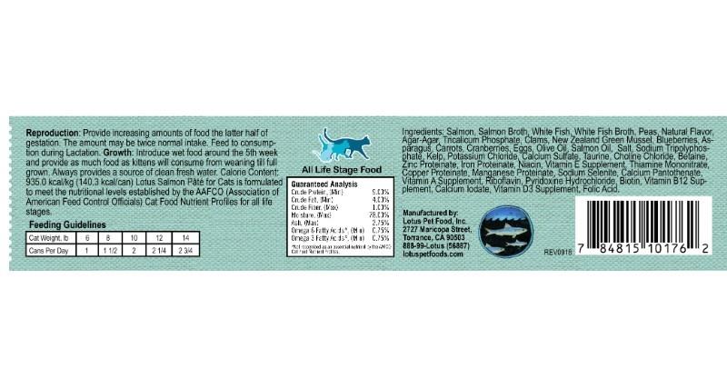 Lotus Pet Foods Lotus Grain Free Salmon And Vegetable Pate For Cats