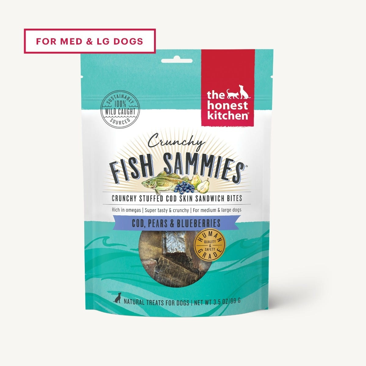 The Honest Kitchen Honest Kitchen Crunchy Fish Sammies - Cod Stuffed with Pears & Blueberries