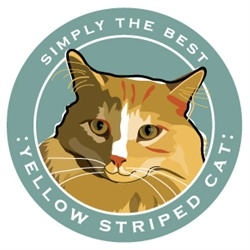 Paper Russells Simply The Best Yellow Stripe Cat Car Magnet
