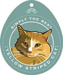 Paper Russells Simply The Best Yellow Stripe Cat Decal