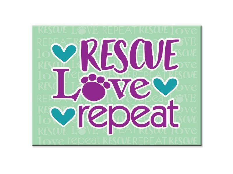 Dog Speak Dog Speak Standard Magnet -Rescue Love Repeat