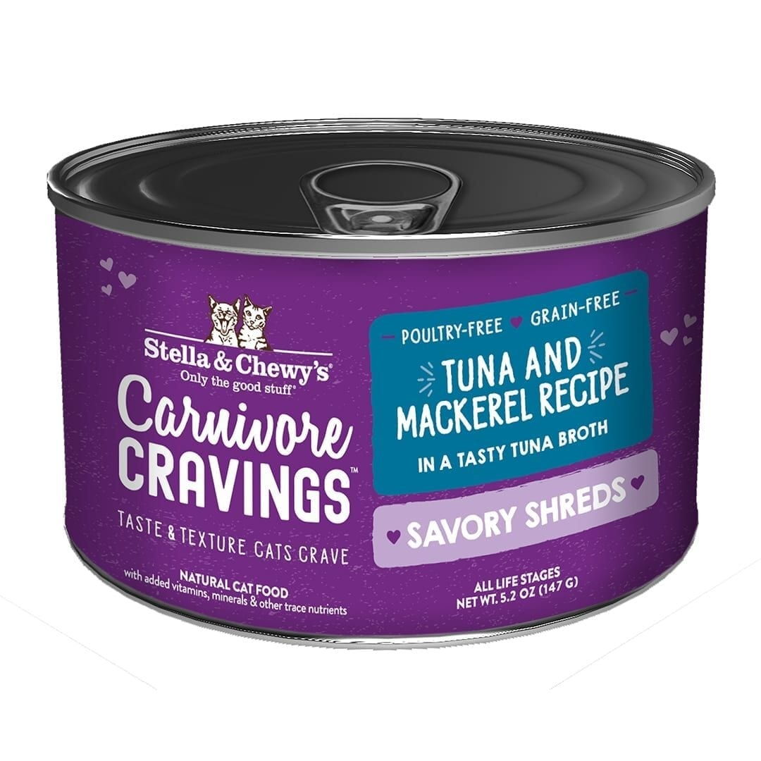 Stella & Chewys Stella & Chewys Carnivore Cravings Savory Shreds Tuna & Mackerel Recipe