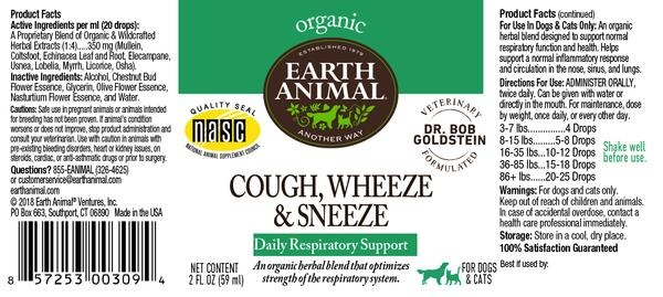 Earth Animal Earth Animal Cough, Wheeze & Sneeze Organic Herbal Remedy 2oz