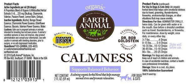 Earth Animal Earth Animal Calmness Organic Herbal Remedy 2oz