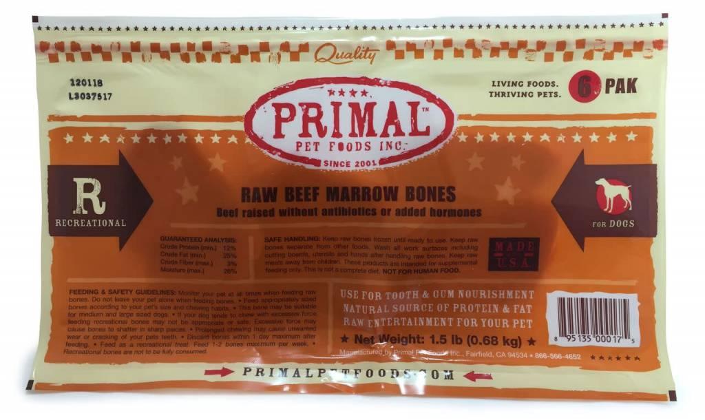 """Primal Pet Foods Primal Raw Recreational Beef Marrow Bones 2"""" 6 PACK"""