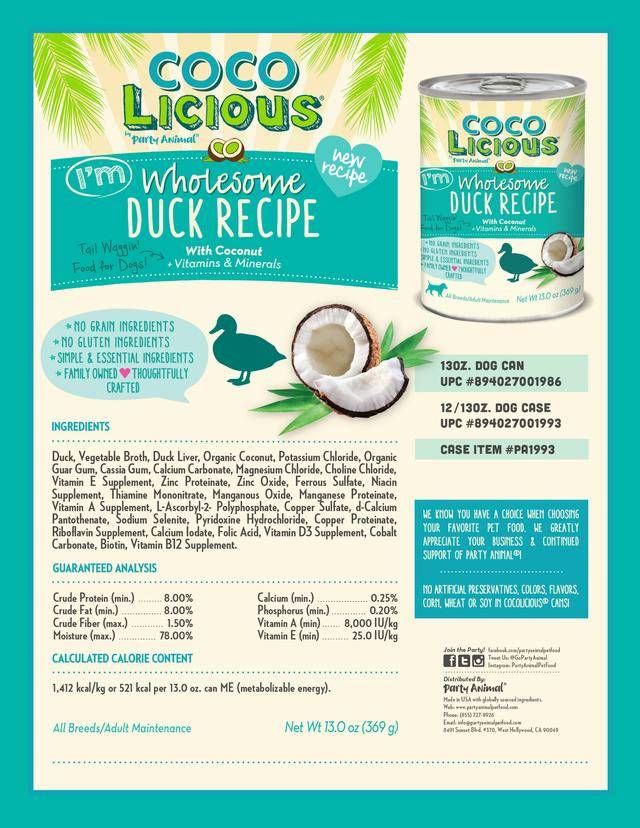 PARTY ANIMAL COCOLICIOUS I'M WHOLESOME DUCK RECIPE
