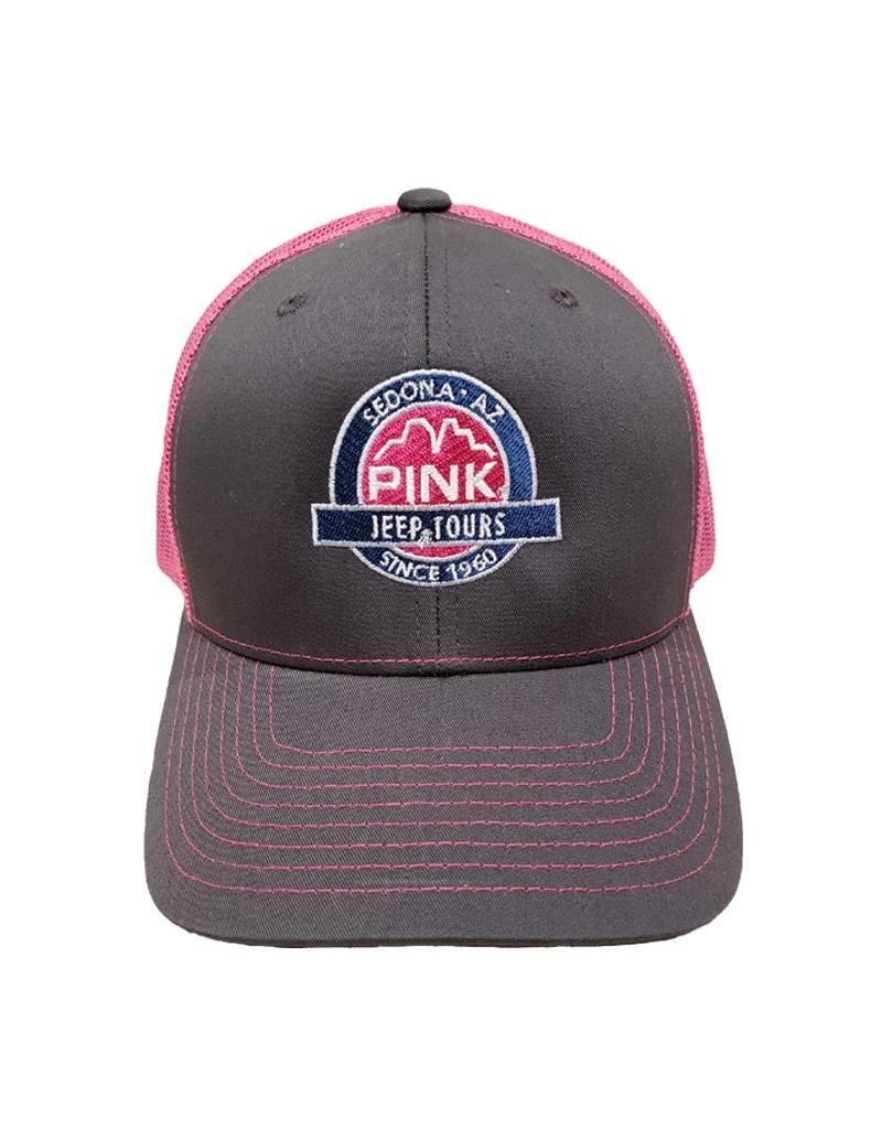 RAG TIME ENTERPRISES MESH TRUCKER HAT GREY/PINK