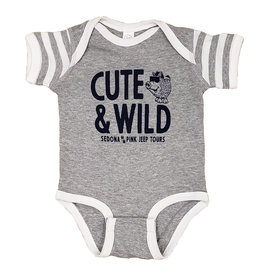 PRAIRIE MOUNTAIN CUTE & WILD ONESIE GREY STRIPE