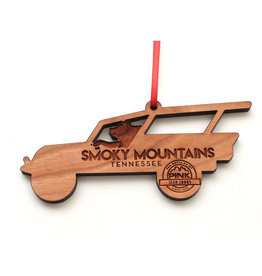 NESTLED PINES WOODWORKING WOOD ORNAMENT SMOKY MOUNTAINS JEEPO