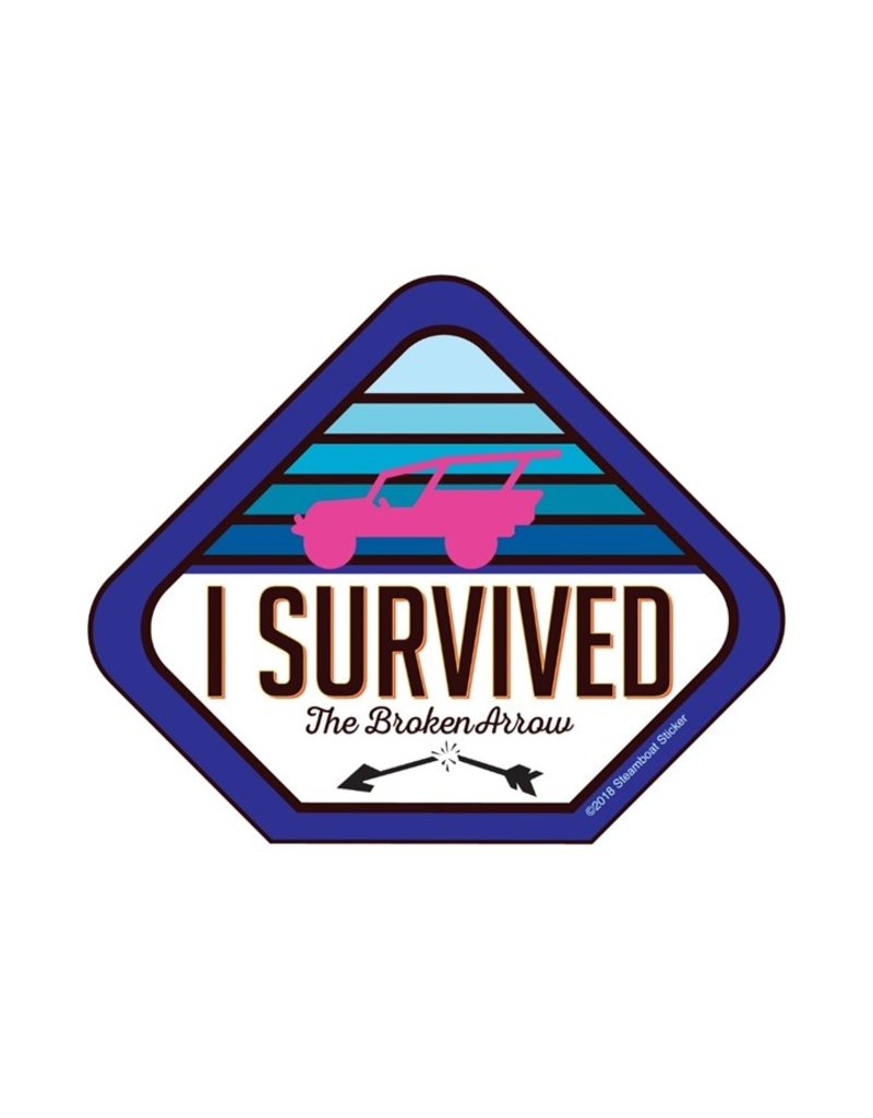 STEAMBOAT STICKERS I SURVIVED BROKEN ARROW - BLUE TAB
