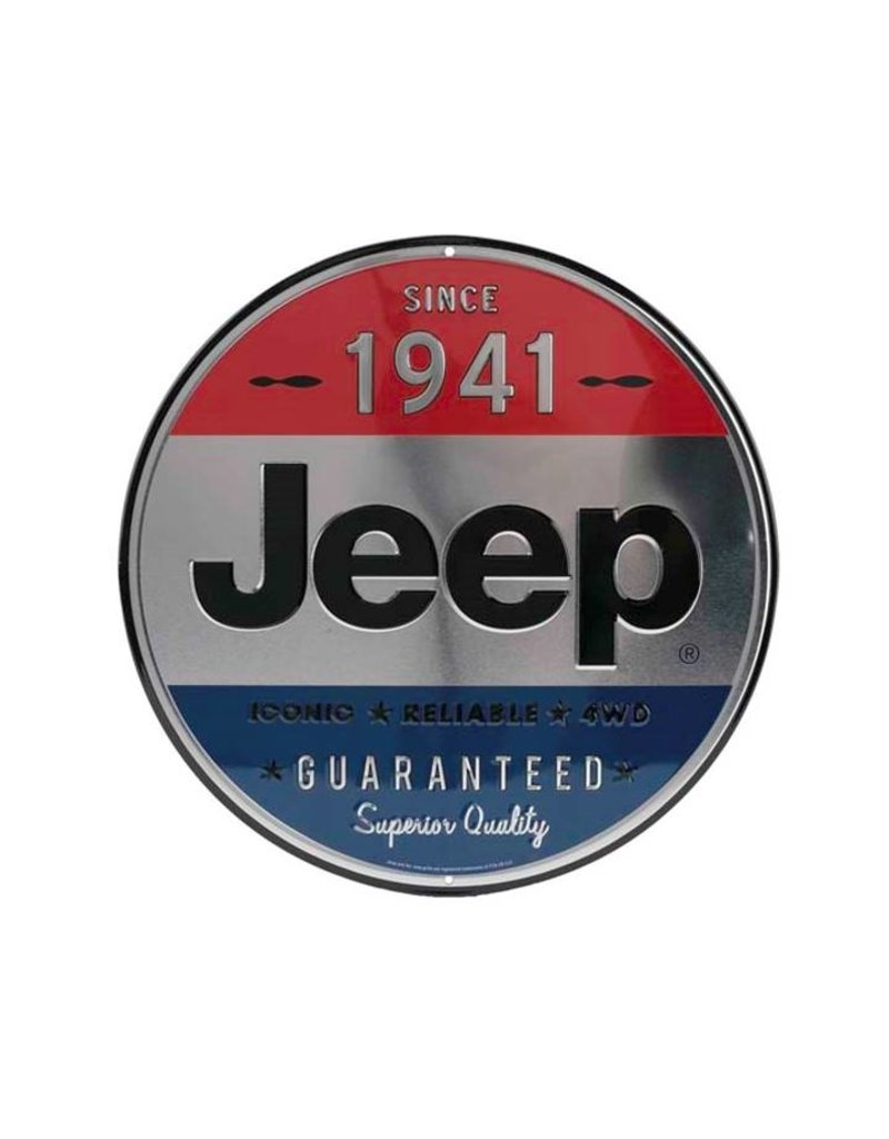 OPEN ROAD BRANDS JEEP 1941 ROUND EMBOSSED TIN SIGN