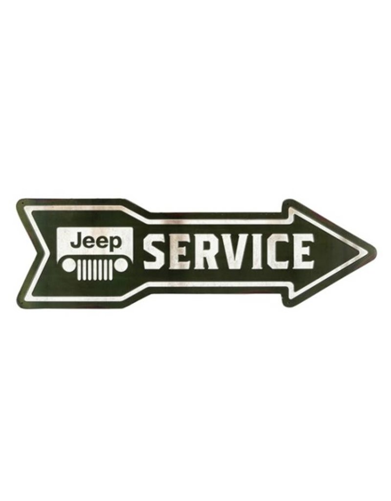 OPEN ROAD BRANDS JEEP SERVICE ARROW EMBOSSED TIN SIGN