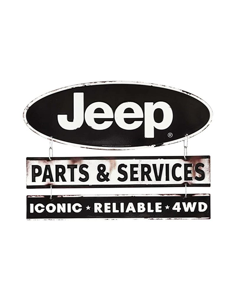 OPEN ROAD BRANDS JEEP SERVICE & PARTS EMBOSSED TIN SIGN