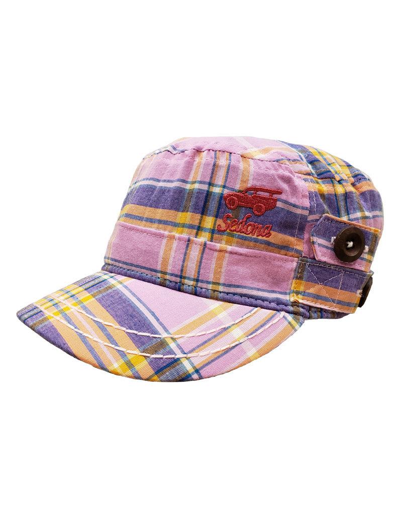 DORFMAN PACIFIC CADET PLAID HAT PINK