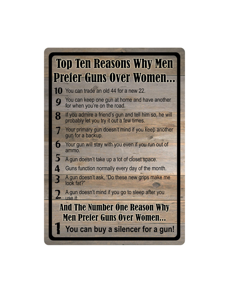 Rivers Edge Products Tin Sign Gun Over Women
