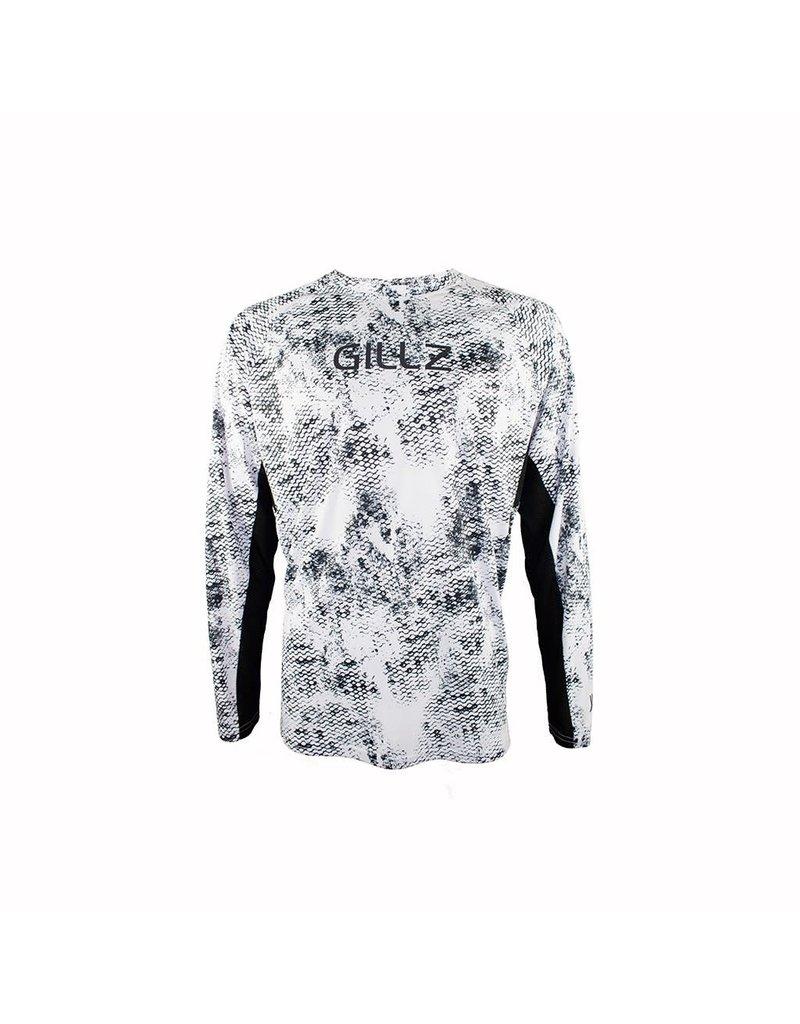 Gillz Gillz Men's LS UV TS Grunge Scale AOP Black on White
