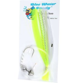 Blue Water Candy BWC 11260-5 7/0 Ballyhoo Rigged Chartreuse/White
