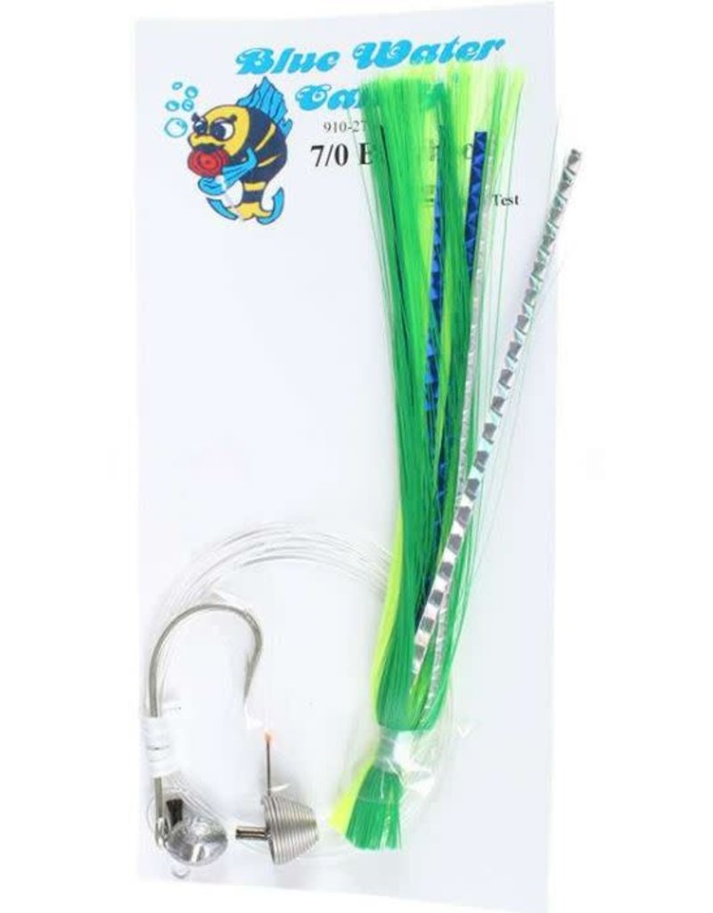 Blue Water Candy BWC 11262-9 7/0 Ballyhoo Rigged Green/Chartreuse