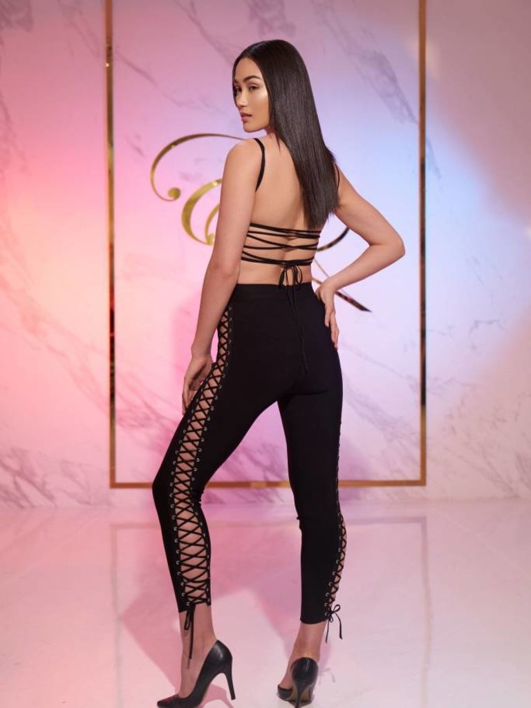 ab03101cd34bc5 Staci Black Side Lace Up Bandage Jumpsuit - Elegant by Alice