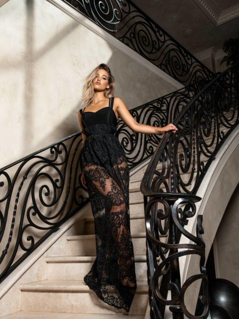 2dd691ba78c34 Charlotte Long Black Lace Dress - Elegant by Alice