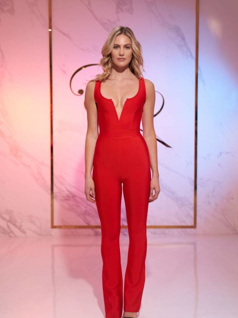 4e294641009 ... fitted red  bandage  one piece  jumpsuit  short sleeve  long  tall   vneck  plunging neckline backless tina Tina Red Bandage Jumpsuit - Elegant  by Alice