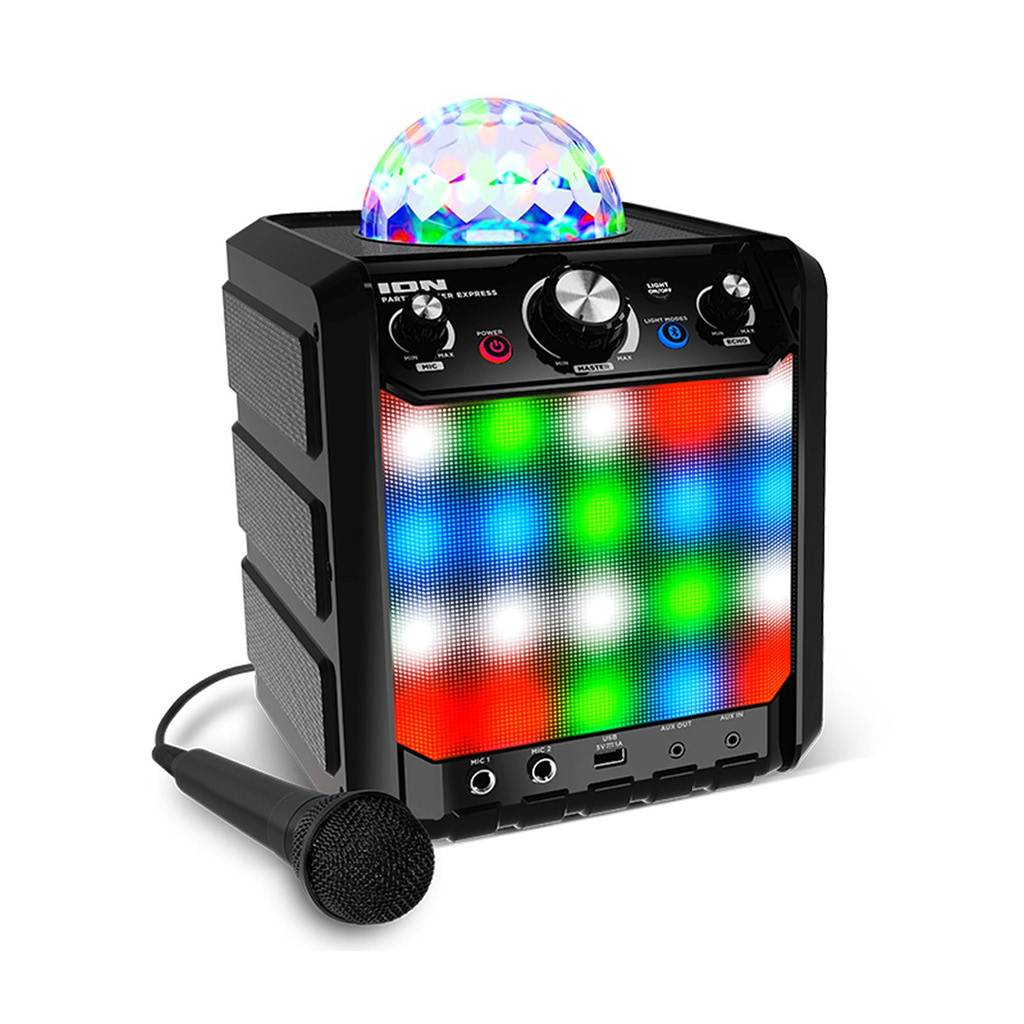 ION Audio Party Rocker Express Portable Karaoke Bluetooth Speaker with Light and Mic IPA78BK