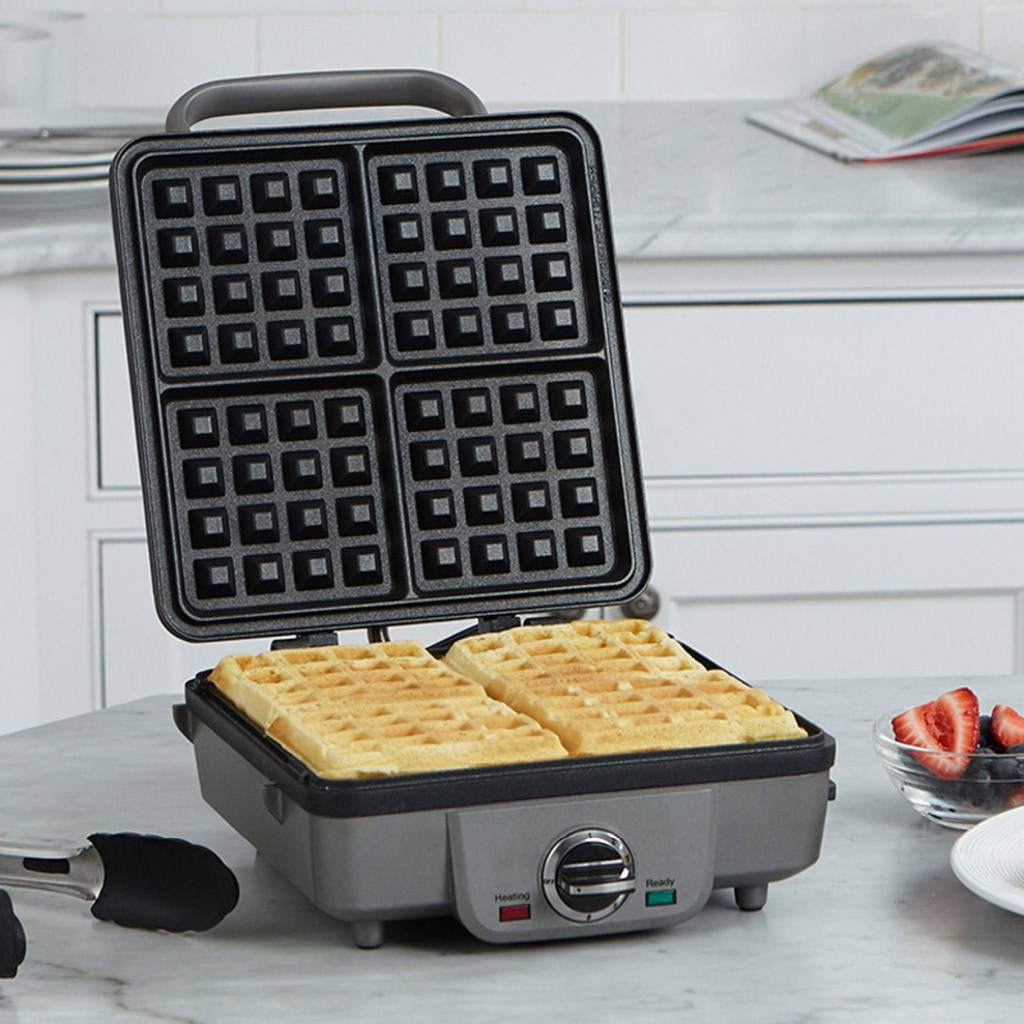 WAF-350 Belgian Waffle Maker with Pancake Plate - Stainless Steel/Black (90 Days Warranty)