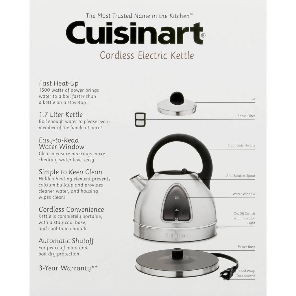 DK-17 1.7L Cordless Electric Kettle -  Stainless Steel (Manufacturer Refurbished / 6 Month Warranty)