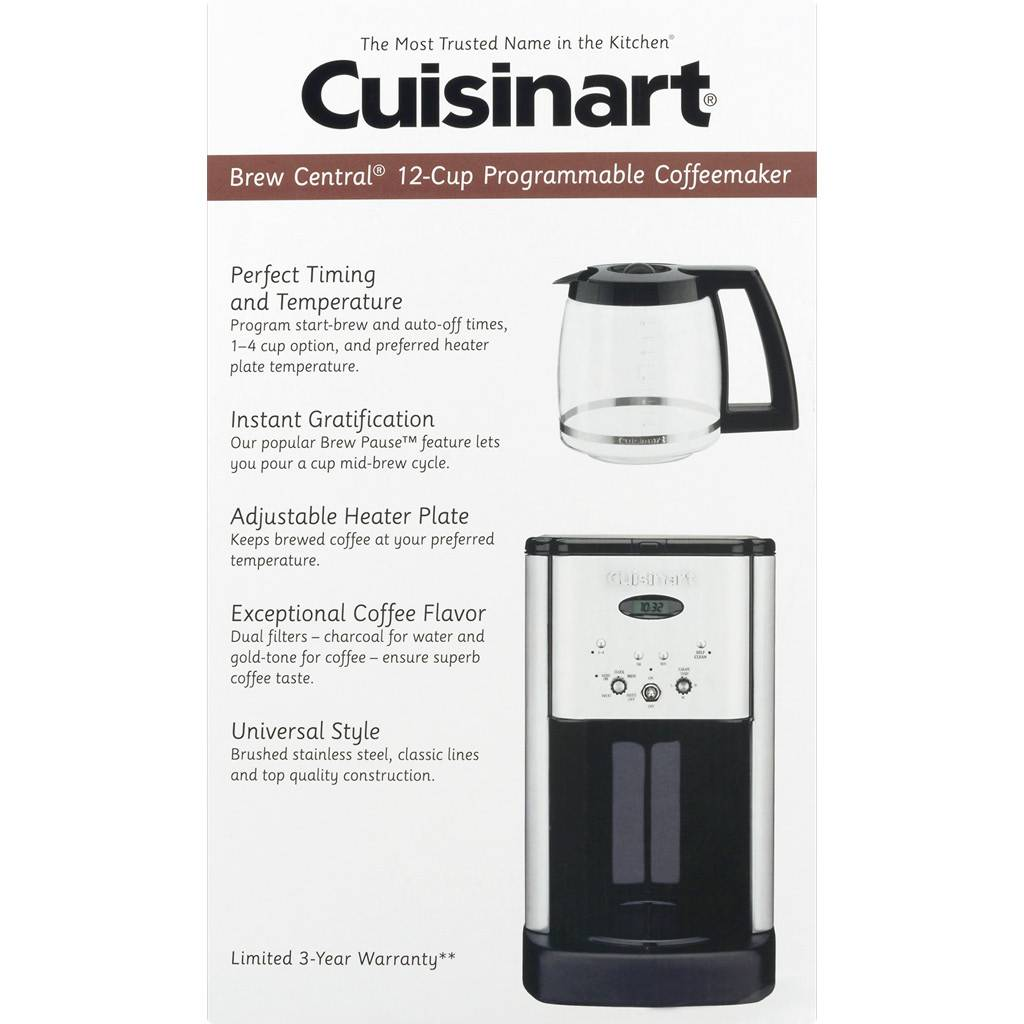 DCC-1200IHR Brew Central 12-Cup Programmable Coffee Maker - Brushed Stainless (Manufacturer Refurbished / 6 Month Warranty)