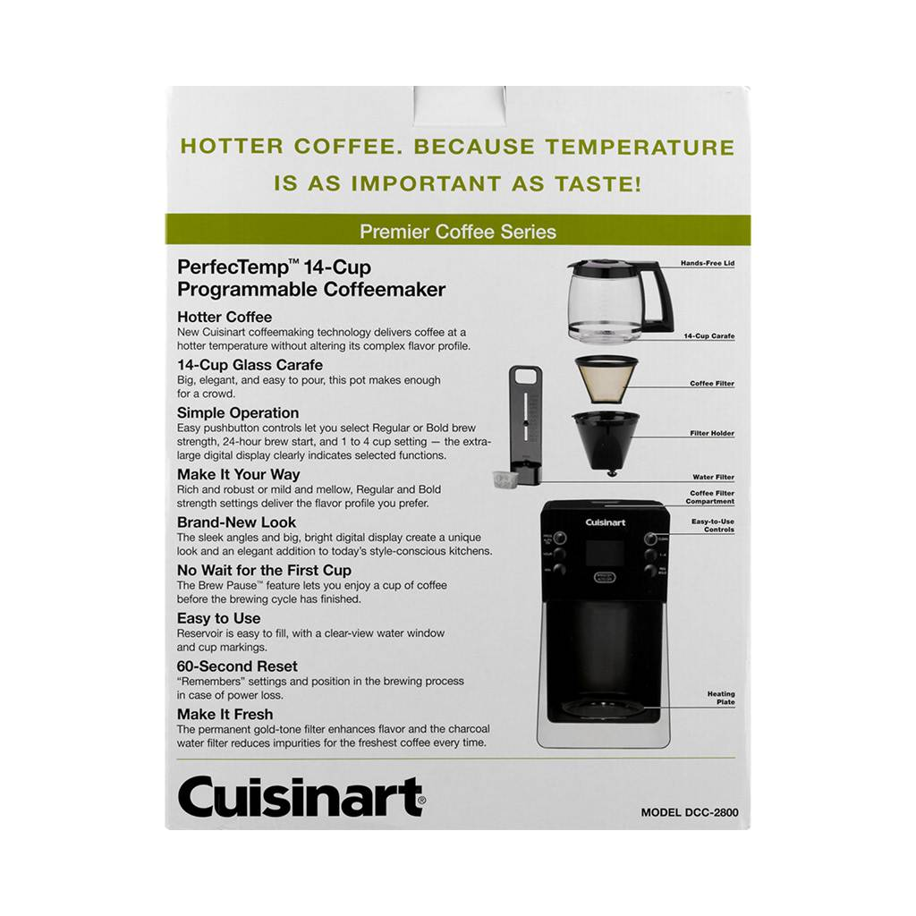 DCC-2800C 14-Cup PerfecTemp Coffeemaker - Black/Silver (1 Year Warranty)