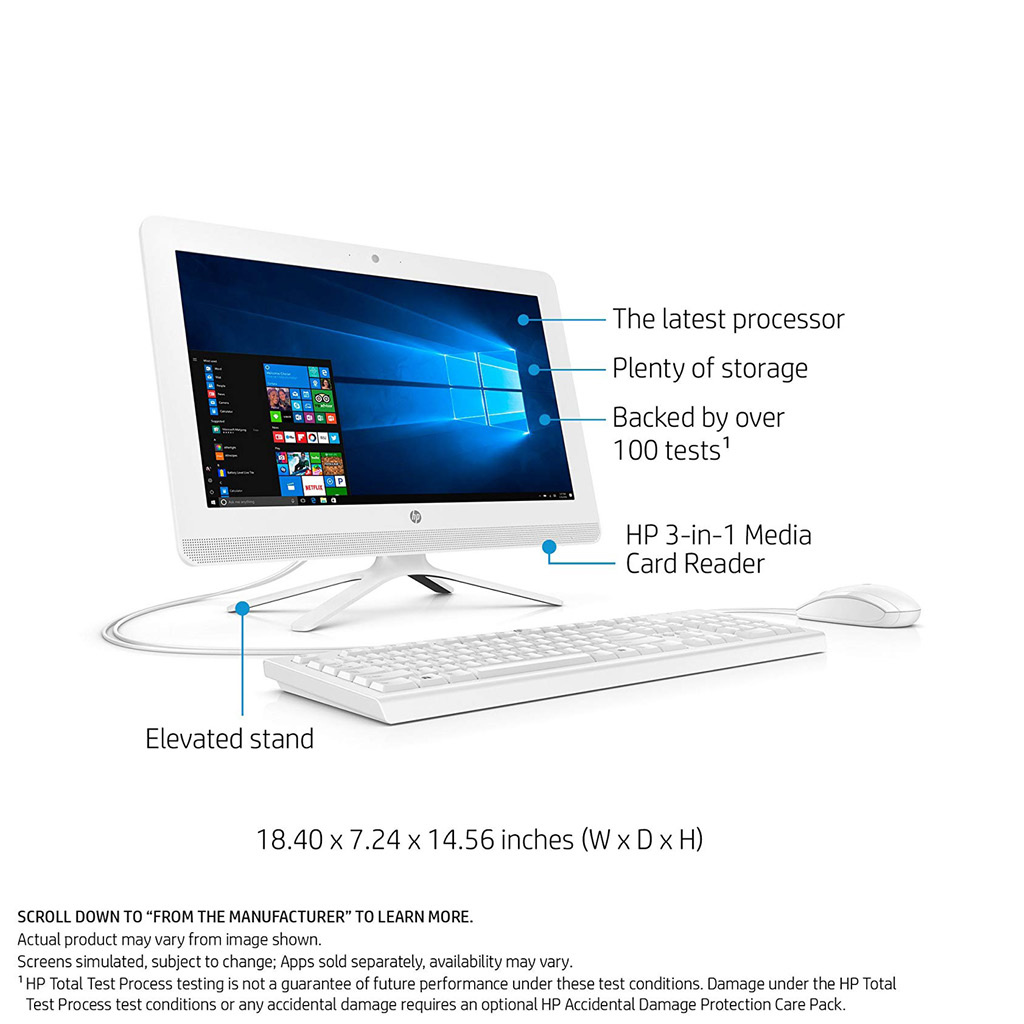 HP 20-C210 All-in-One Desktop Intel Celeron J3355 (2.0GHz) / 4GB Memory / 1TB HD / 19.5-in / Windows 10